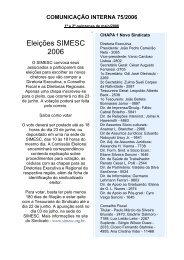 Eleições SIMESC 2006 - Sindicato dos Médicos do Estado de Santa ...