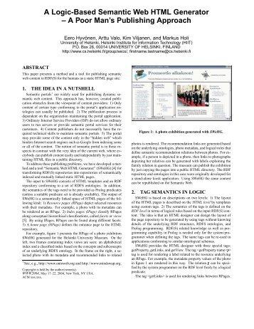 A Logic-Based Semantic Web HTML Generator – A Poor ... - SeCo