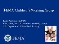 FEMA Children's Working Group - The 2012 Integrated Medical ...