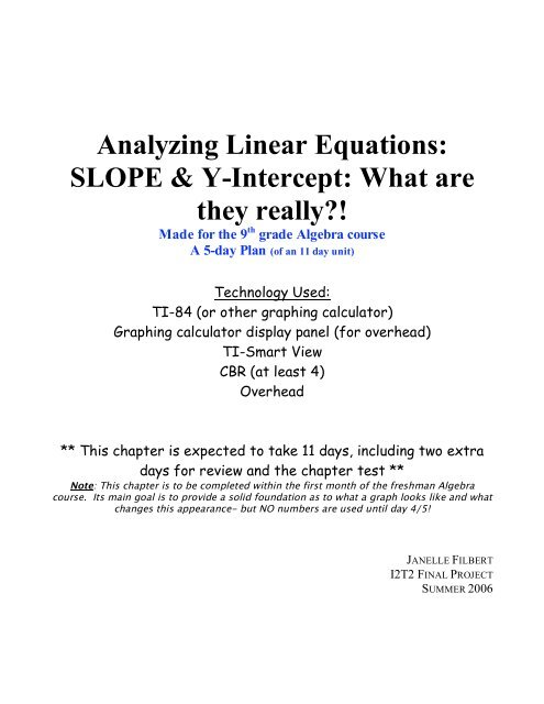 Analyzing Linear Equations: SLOPE & Y-Intercept: What are ...
