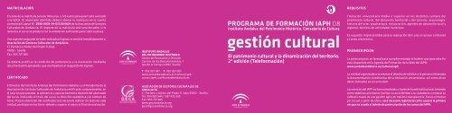 PROGRAMA DE FORMACIÓN IAPH 08 - IAPH. Instituto Andaluz del ...