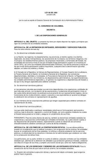 LEY 80 DE 1993 - estatales colombia isp