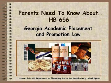 Parents Need To Know About… HB 656 - DeKalb County Schools
