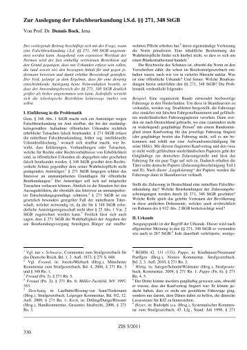 Zur Auslegung der Falschbeurkundung i.S.d. §§ 271, 348 StGB - ZIS
