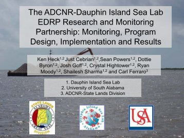 The ADCNR-Dauphin Island Sea Lab EDRP Research and ...