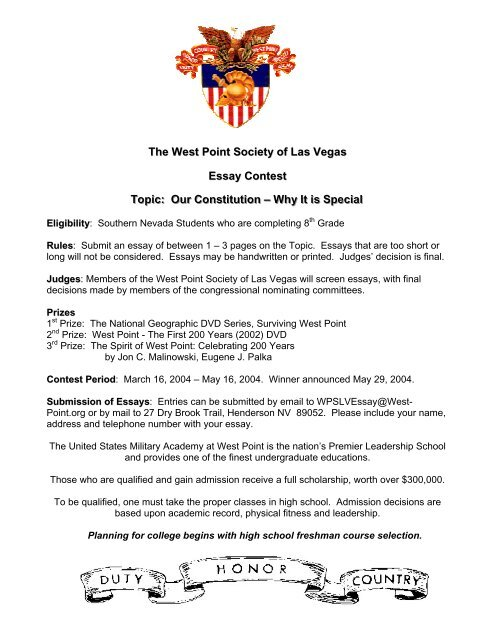 The West Point Society of Las Vegas Essay Contest TTooppiicc