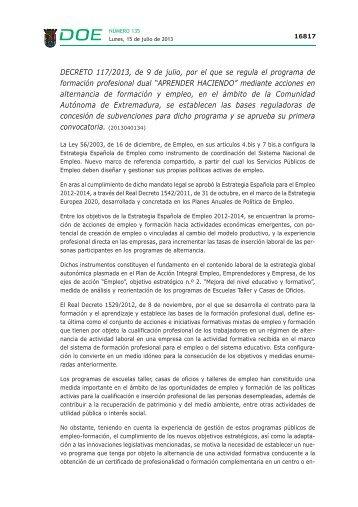 DECRETO 117/2013, de 9 de julio - Diario Oficial de Extremadura