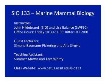 SIO 133 – Marine Mammal Biology