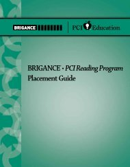 BRIGANCE® • PCI Reading Program Placement Guide - Pro-Ed