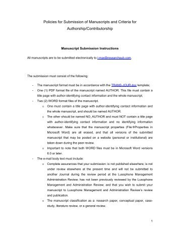 Manuscript Submission Policies - Research Publisher