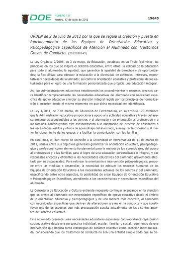 ORDEN de 2 de julio de 2012 - Diario Oficial de Extremadura