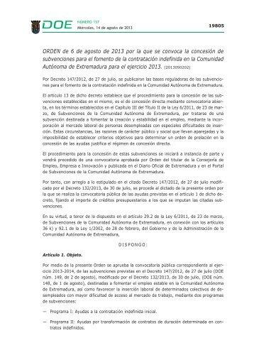 ORDEN de 6 de agosto de 2013 - Diario Oficial de Extremadura