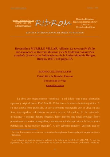 Recensión a MURILLO VILLAR, Alfonso, La revocación de - revista ...