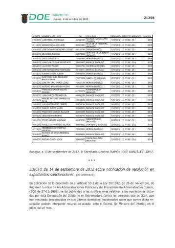 EDICTO de 14 de septiembre de 2012 sobre notificación de ...