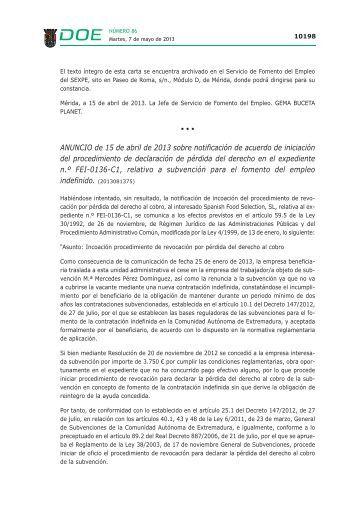 ANUNCIO de 15 de abril de 2013 sobre notificación de acuerdo de ...