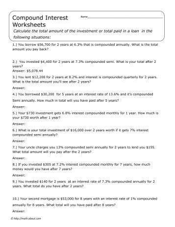 Simple And Compound Interest Worksheet - Samsungblueearth