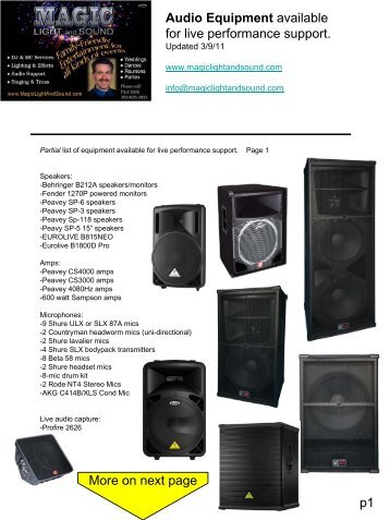 Audio Equipment - Magic Light and Sound  sc 1 st  Yumpu & Quotation for hiring sound sytemcameralighting equipmentsDiesel ...