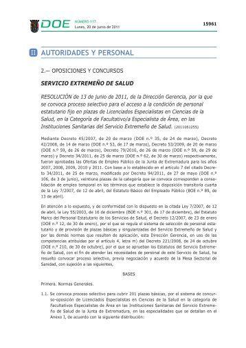 Convocado en Extremadura proceso selectivo para el acceso a la ...