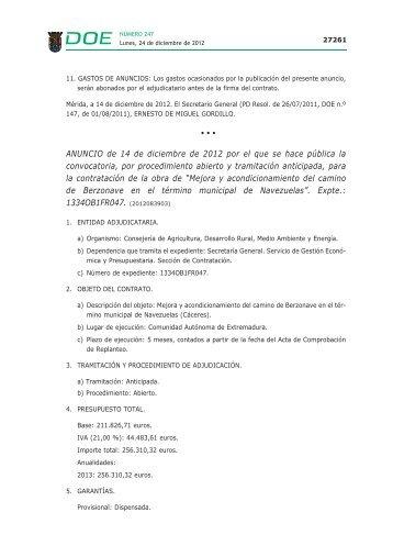 ANUNCIO de 14 de diciembre de 2012 por el que se hace pública ...
