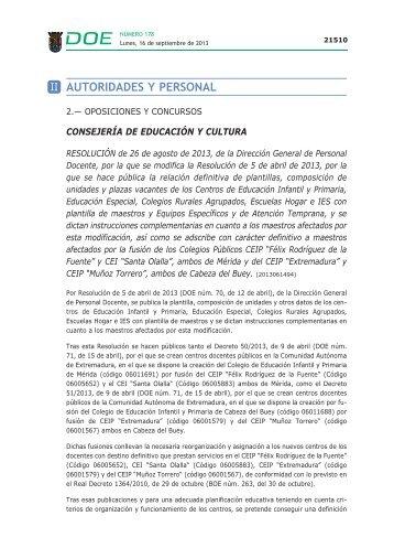 AUTORIDADES Y PERSONAL - Diario Oficial de Extremadura