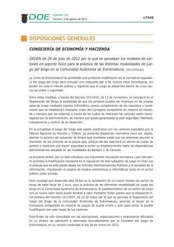 Orden cartones. - Diario Oficial de Extremadura