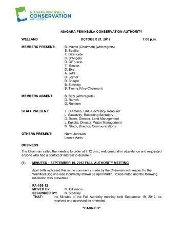 Minutes - Niagara Peninsula Conservation Authority