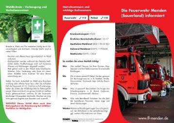 Die Feuerwehr Menden (Sauerland) informiert www.ff-menden.de