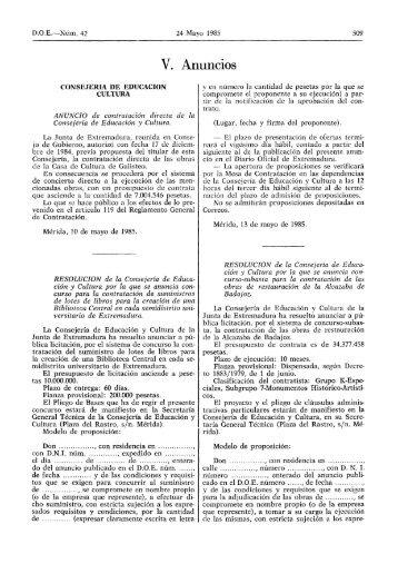 V. Anuncios - Diario Oficial de Extremadura