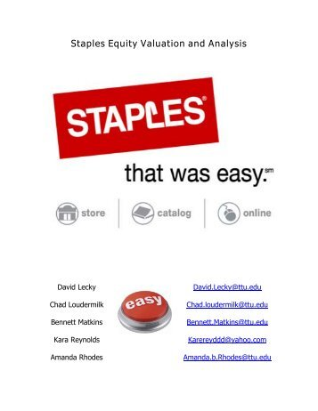 Staples Equity Valuation and Analysis - Mark Moore