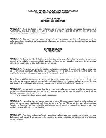 Reglamento de Mercados, Plazas y Sitios Publicos del Municipio de ...