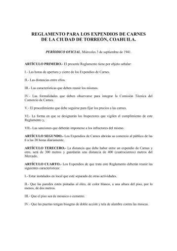 Reglamento para los Expendios de Carne - Orden Jurídico Nacional