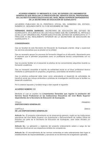 acuerdo número 131 mediante el cual se expiden los lineamientos ...