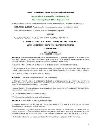 Ley de los Derechos de las Personas Adultas Mayores