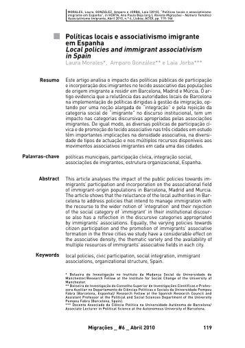 Local policies and immigrant associativism in Spain - Acidi