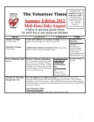 Summer Edition 2012 Mid-June/July/August - Volunteer Center of ...