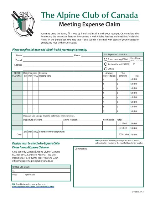INTERACTIVE Board Expenses Claim Form - The Alpine Club of ...
