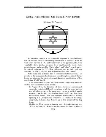Old Hatred, New Threats - Journal for the Study of Antisemitism