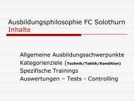 Ausbildungsphilosophie FC Solothurn Inhalte
