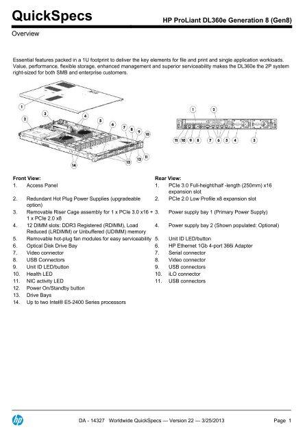 HP 663201-B21 1U Small Form Factor Gen8 Rail Expansion Kit f/ür Rack Mounting