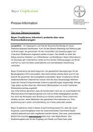 Presse-Info: Kommunikationsregeln - Bayer CropScience ...