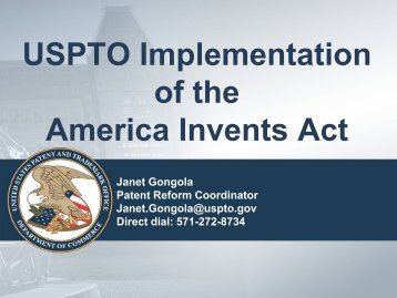 USPTO Implementation of the America Invents Act - United States ...