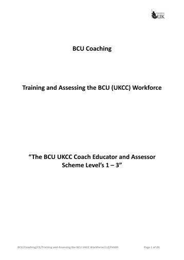 BCU Coaching Training and Assessing the BCU ... - Canoe England