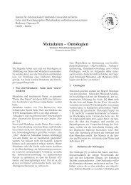 Metadaten: Ontologien - dbis - Humboldt-Universität zu Berlin