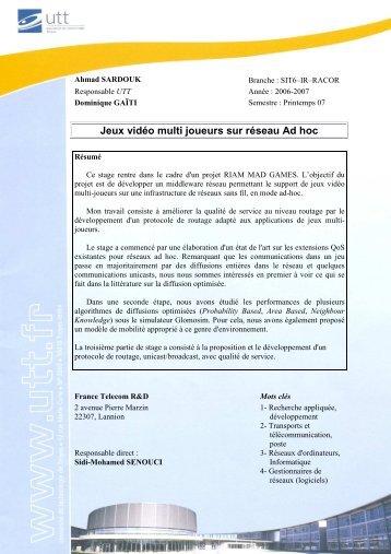 Jeux vidéo multi joueurs sur réseau Ad hoc - Sidi Mohammed ...