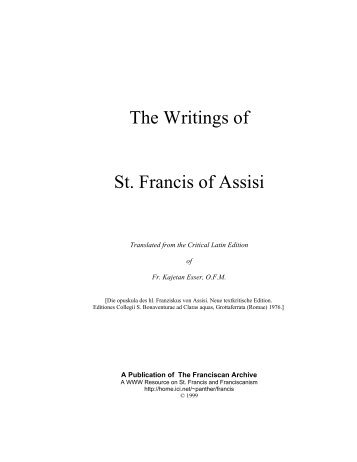 The Writings of St. Francis of Assisi - + Saints' Works