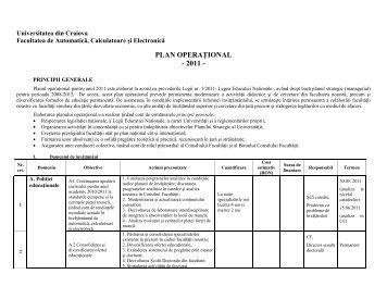 plan operaţional - 2011 - Facultatea de Automatică Calculatoare și ...