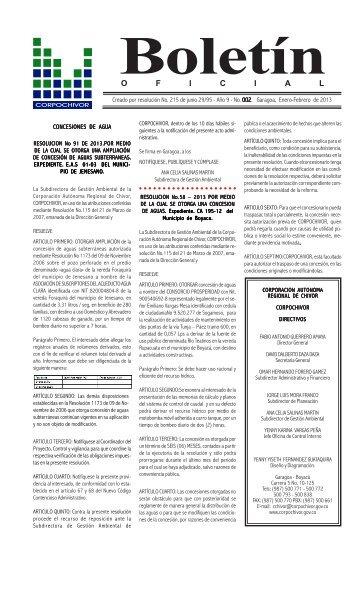 Boletín Oficial No. 02 de enero y febrero de 2013 - Corpochivor