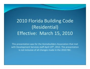 2010 Florida Building Code (Residential) - Santa Rosa County