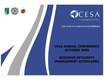 cesa annual conference october 2009 business integrity ...