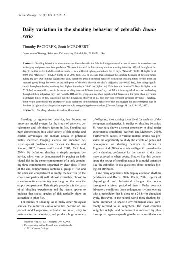 Daily variation in the shoaling behavior of zebrafish Danio rerio